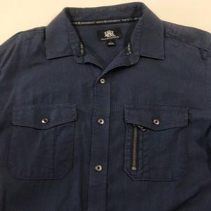 ROCK & REPUBLIC Men's Medium Blue Cotton Shirt